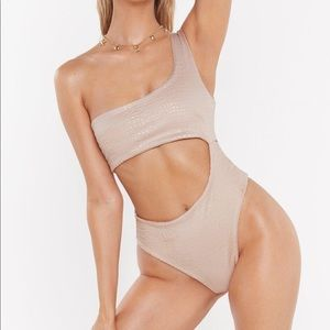 Crinkle Cut-Out Swimsuit